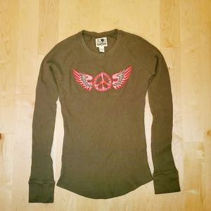 Lucky Thermal Long Sleeve Embroidered Shirt Green